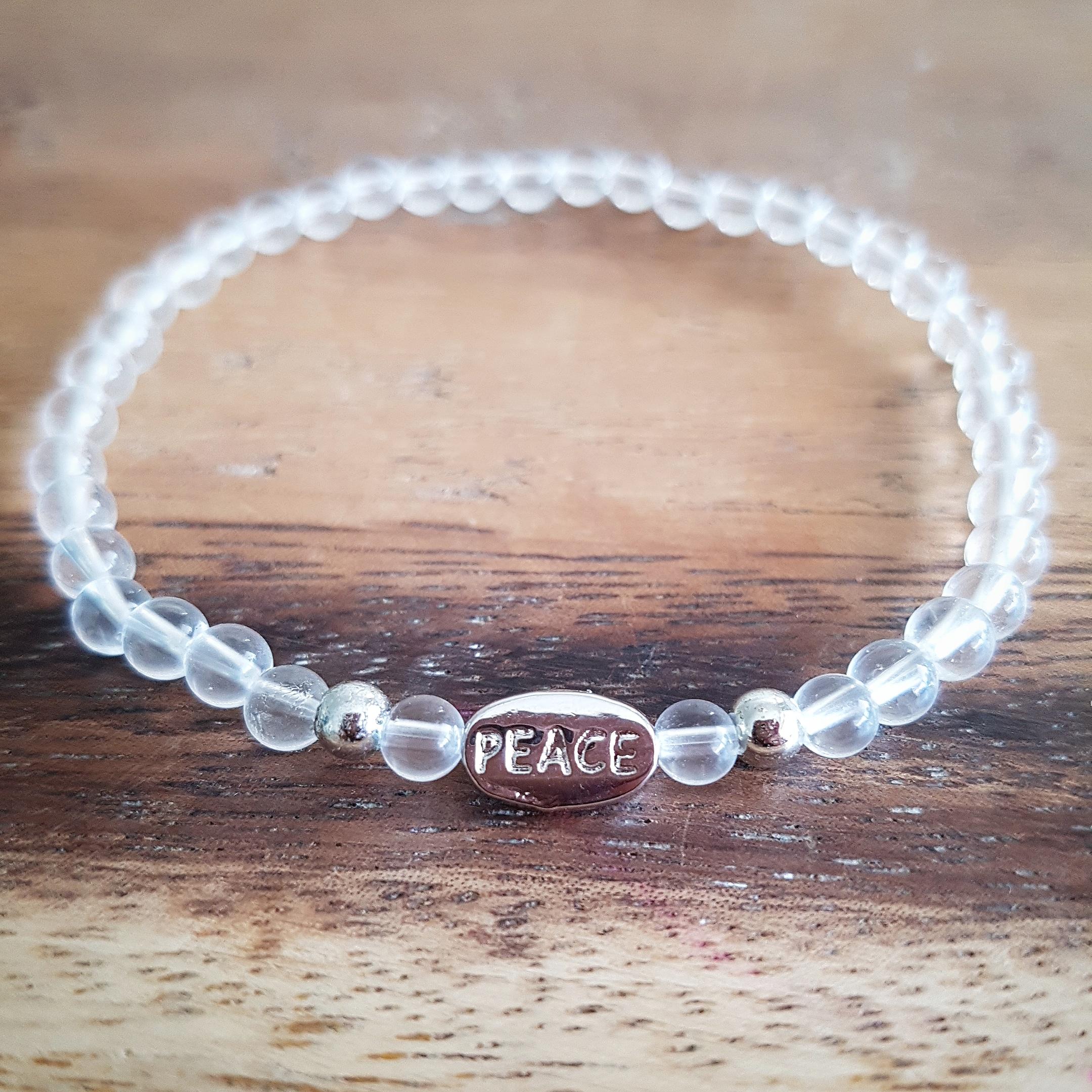 Bergkristal armband peace