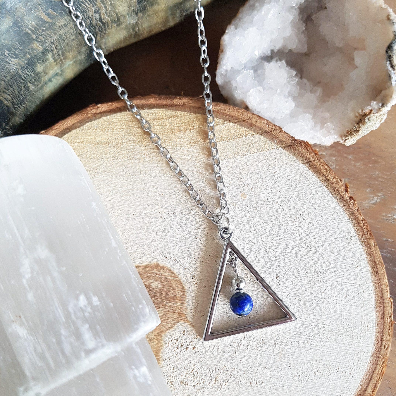 Lapis Lazuli driehoek ketting sieraad zilver