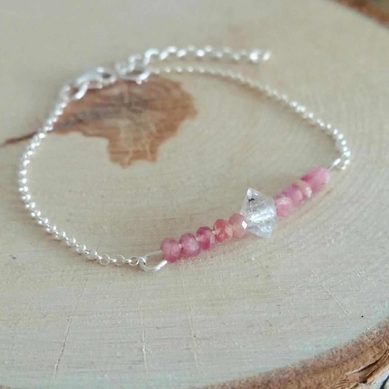 roze toermalijn armband met herkimer diamant in sterling zilver 925