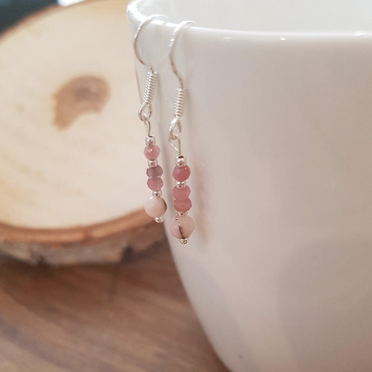 Roze opaal en Toermalijn oorbellen, zilver, puur edelsteentje