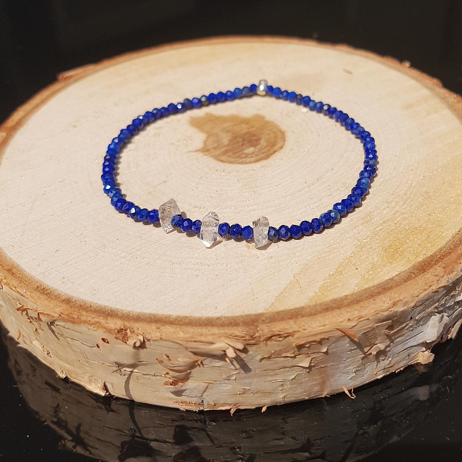 Lapis Lazuli armband met herkimer diamanten