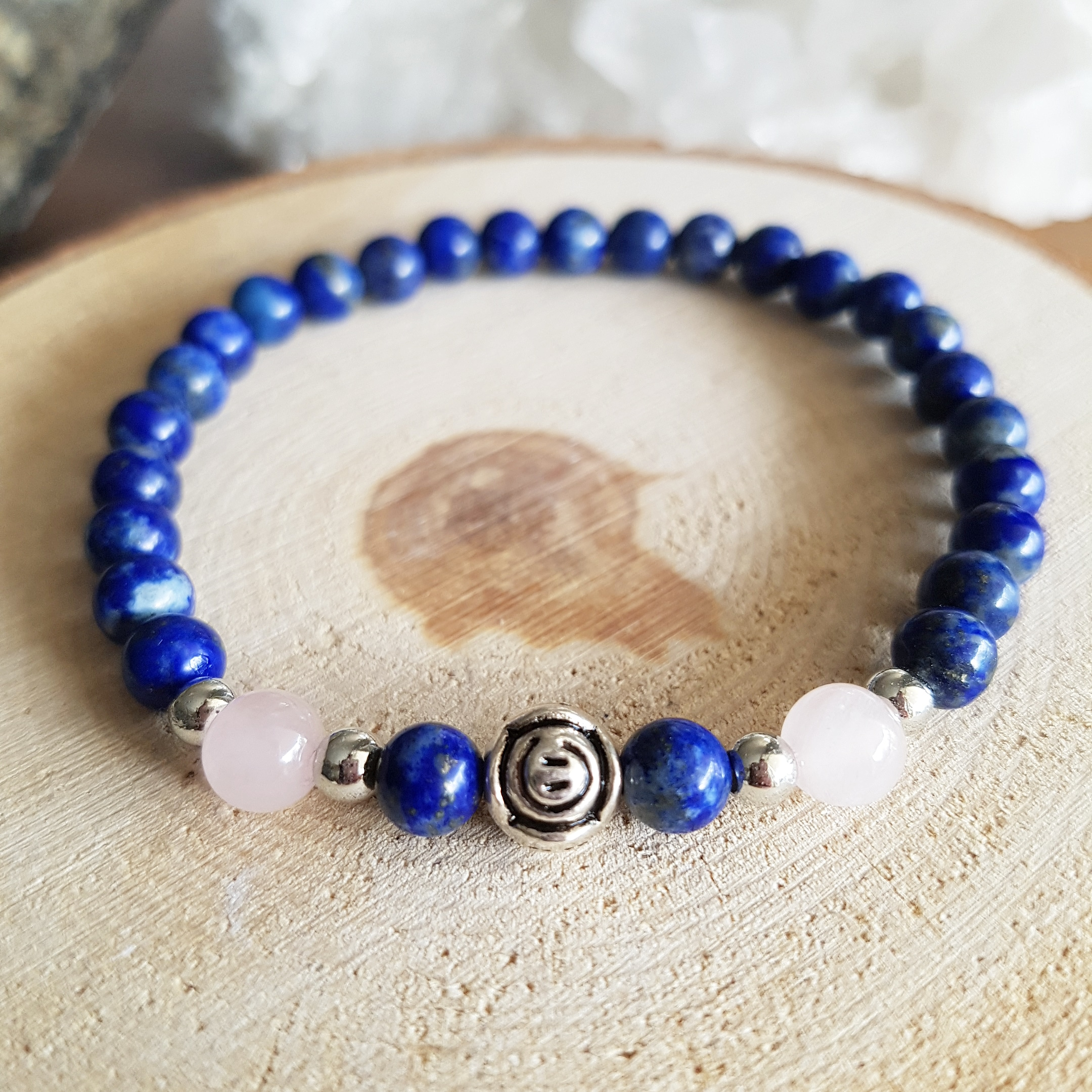 Lapis lazuli rozenkwarts armband