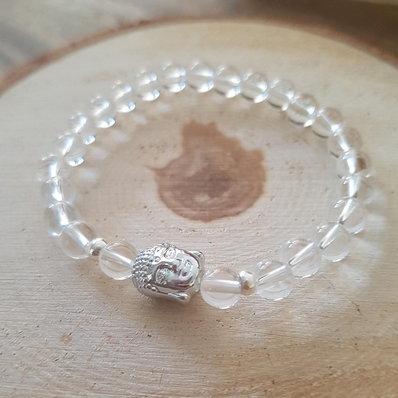 bergkristal boeddha armband
