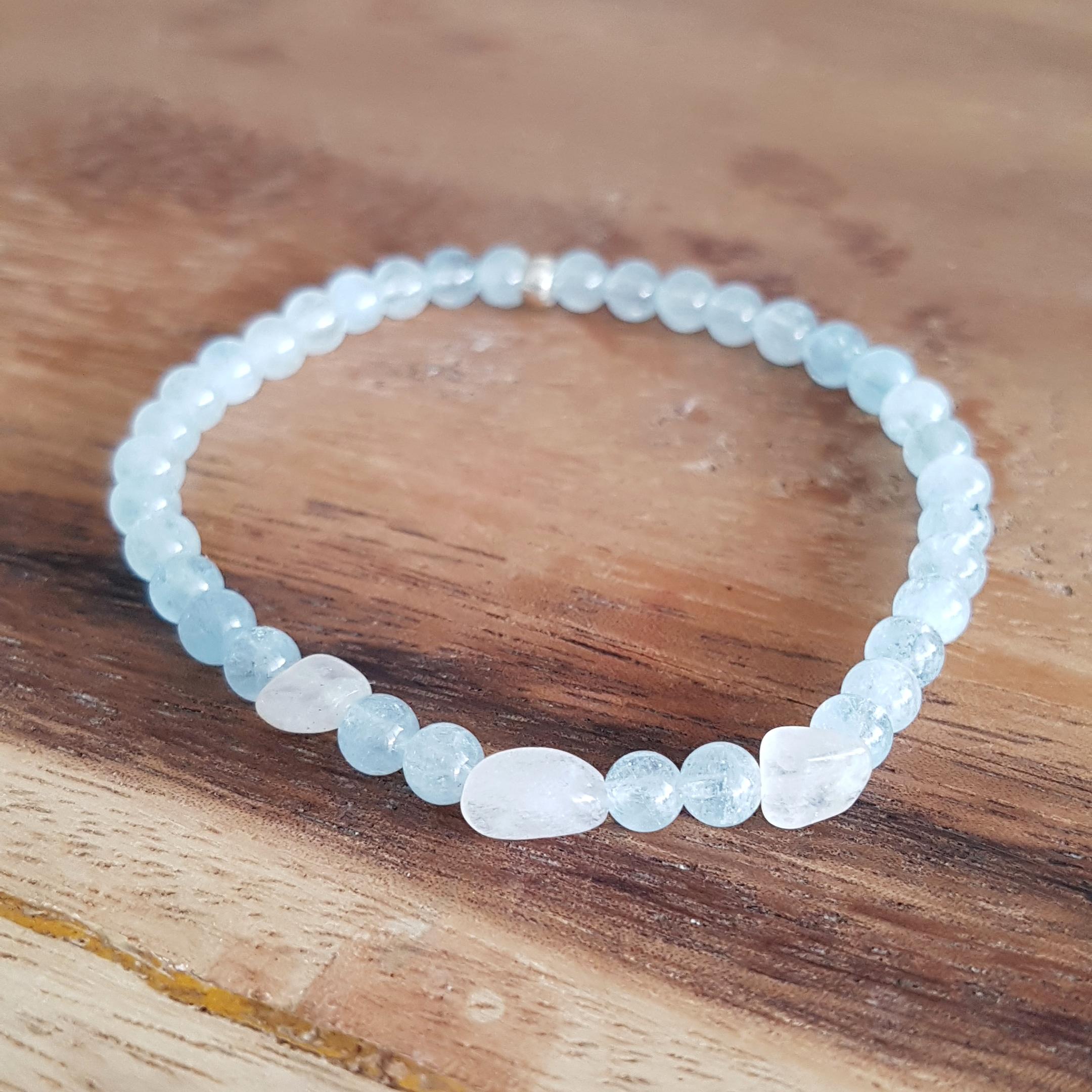 Aquamarijn maansteen armband