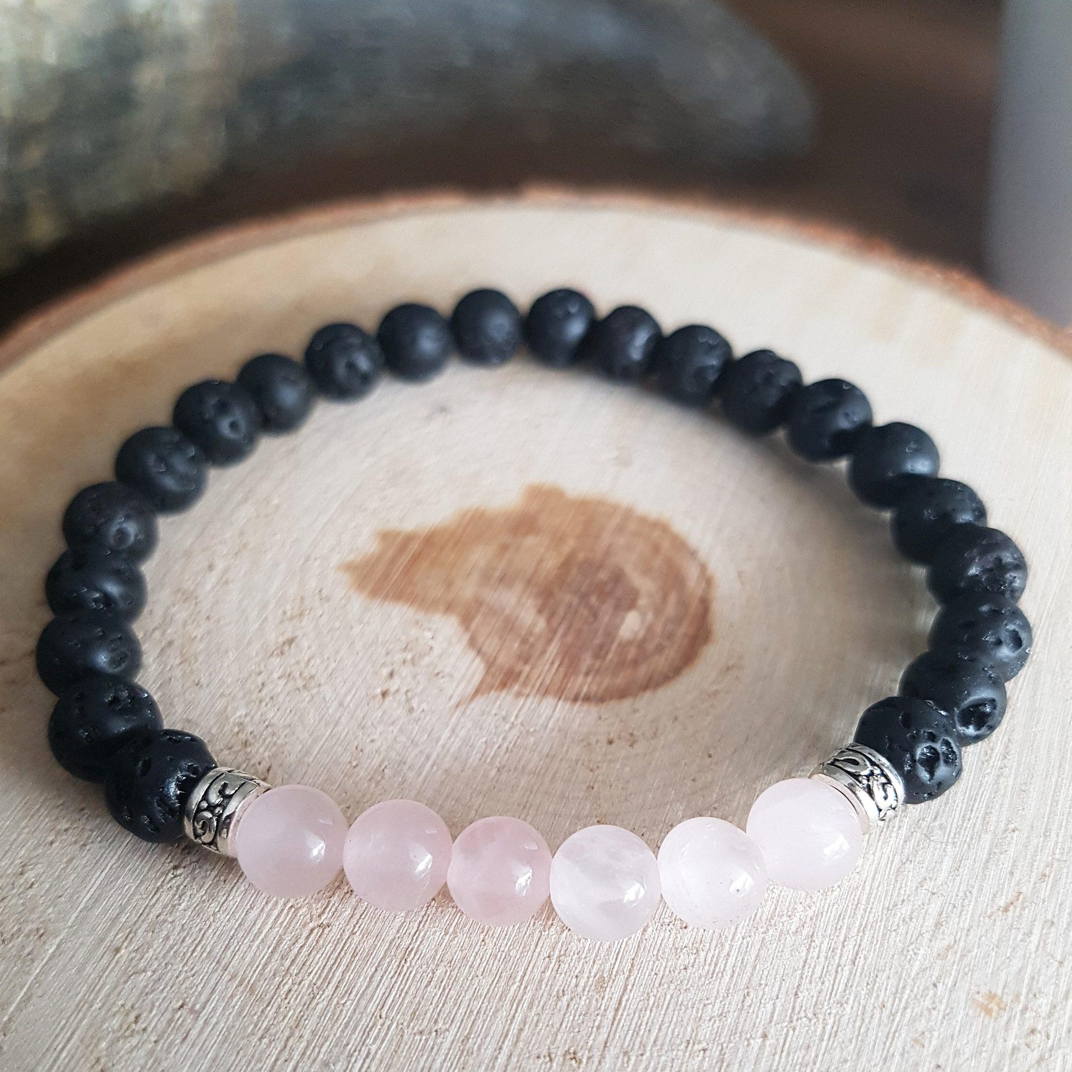 Lava rozenkwarts armband