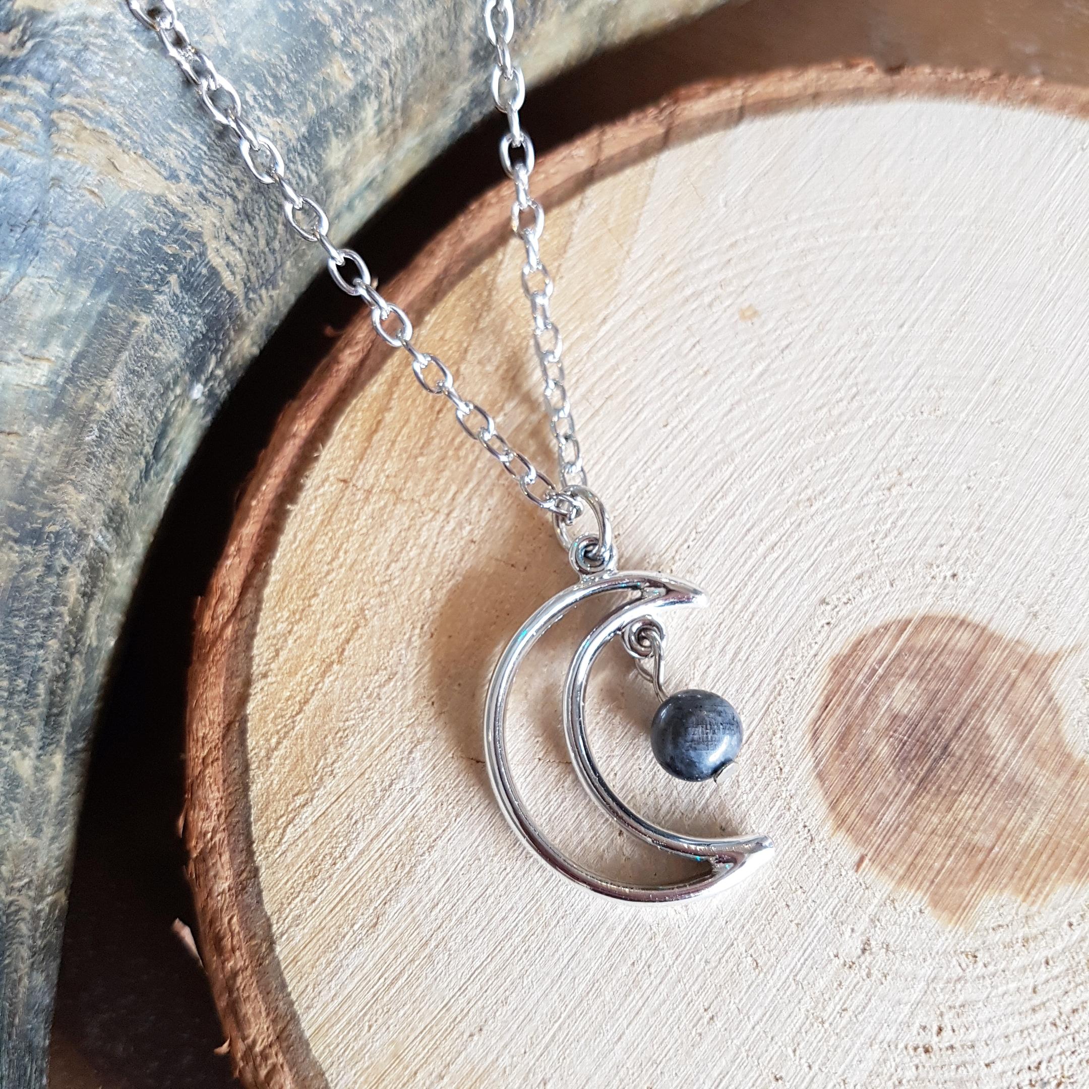 maansteen zwart ketting sieraad zilver halsketting maanhanger