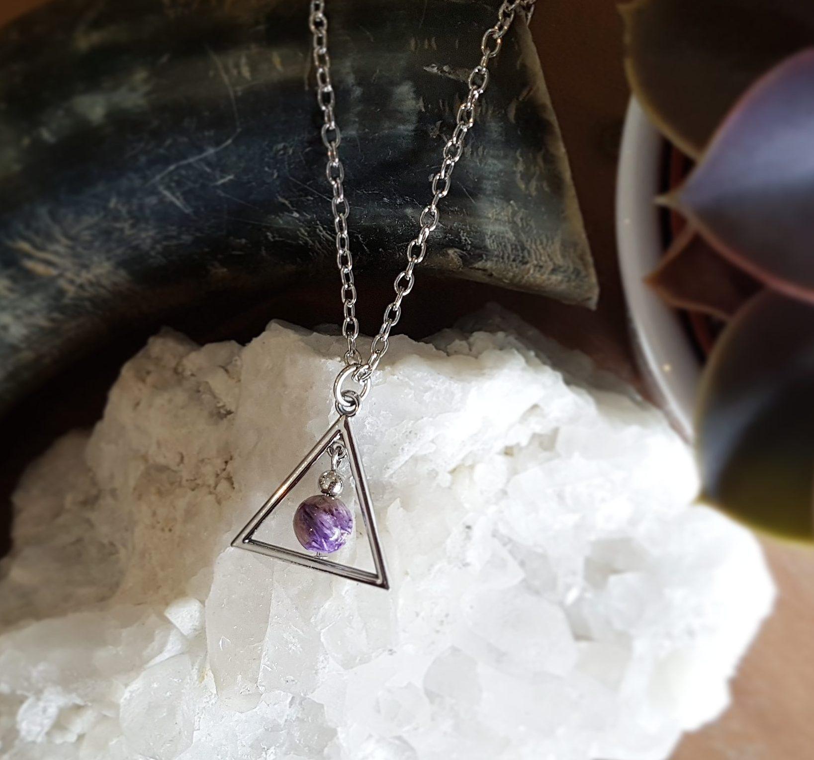 Charoiet ketting kraal driehoek sieraad
