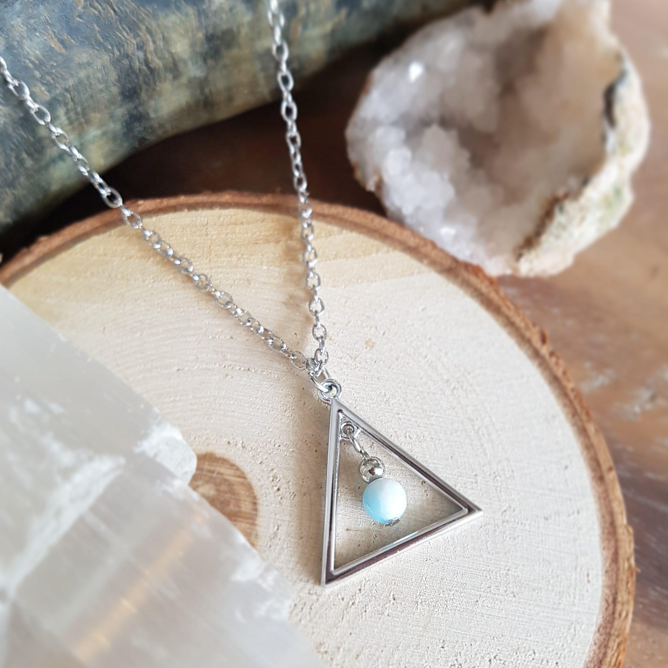 Larimar sieraad halsketting driehoek