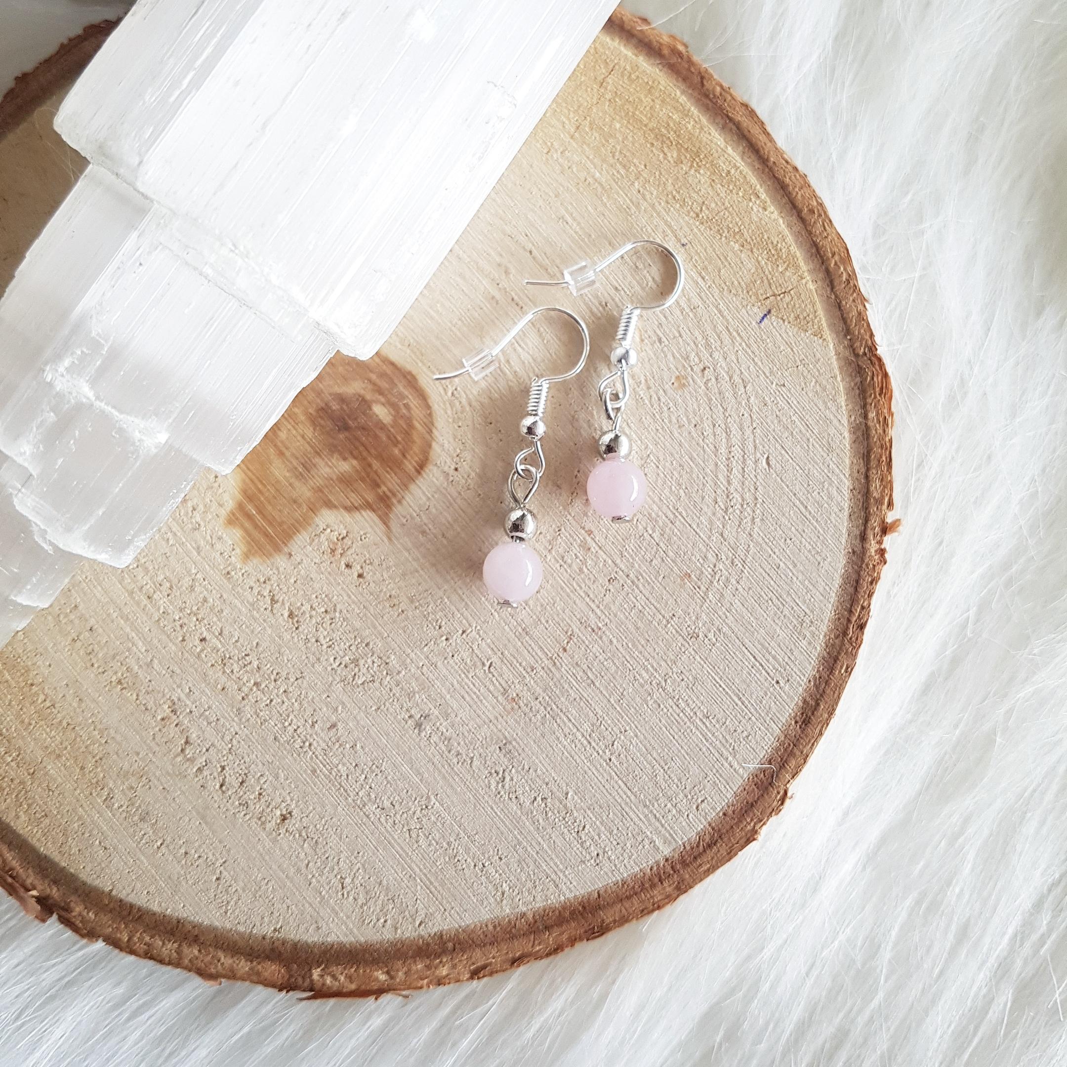rozenkwarts oorbellen