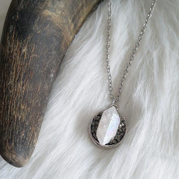 Angel aura kwarts sieraad halsketting