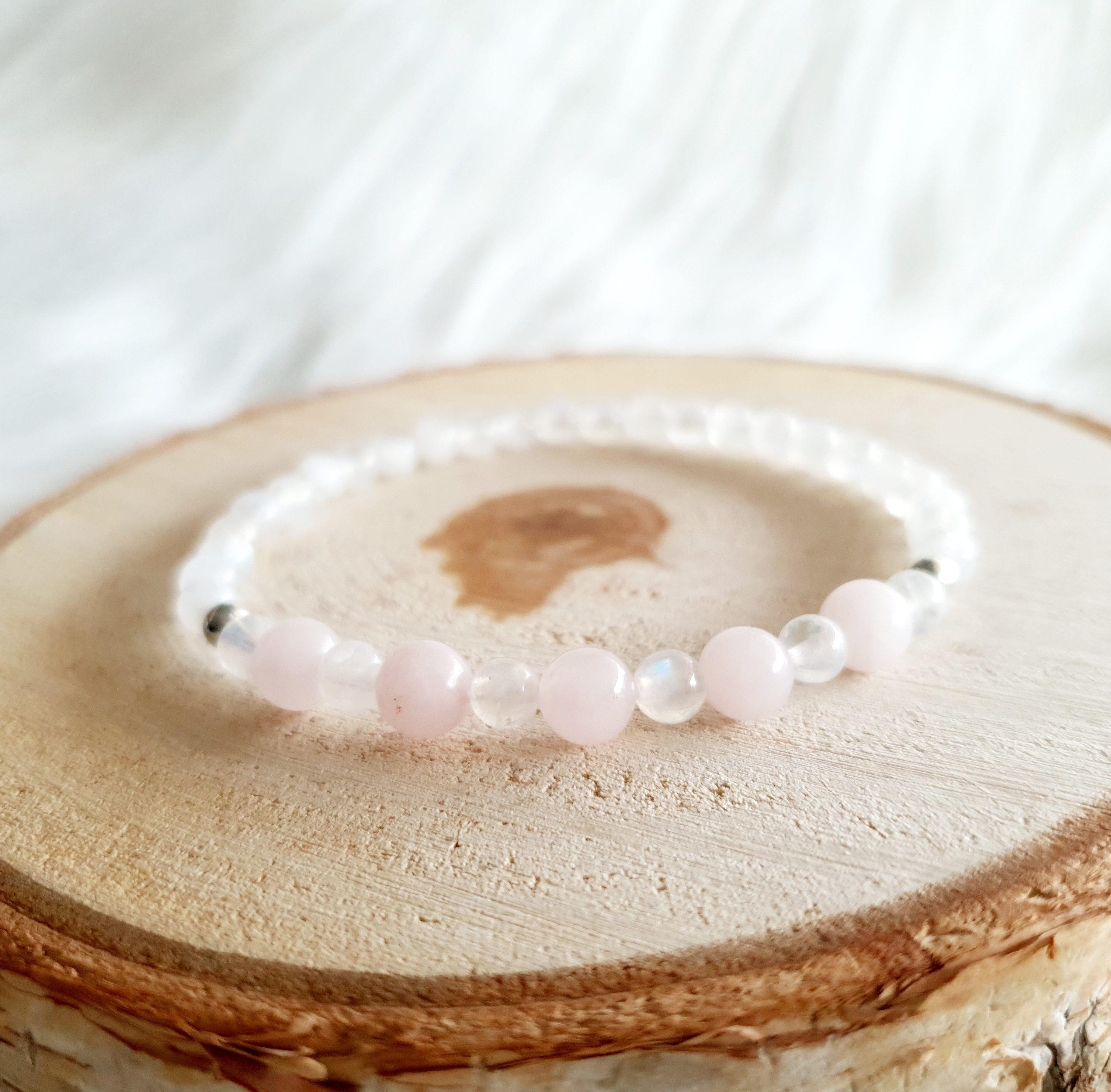 maansteen rozenkwarts armband