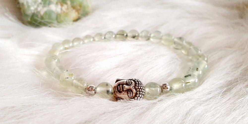 Prehniet buddha armband